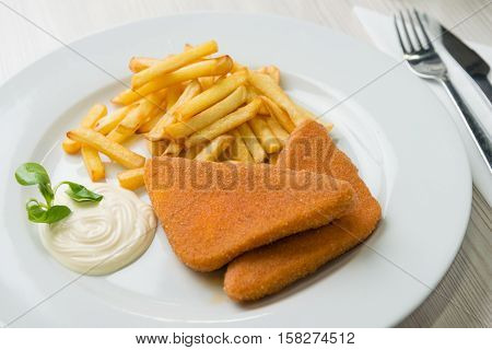 Fried cheese with french fries and tartar sauce