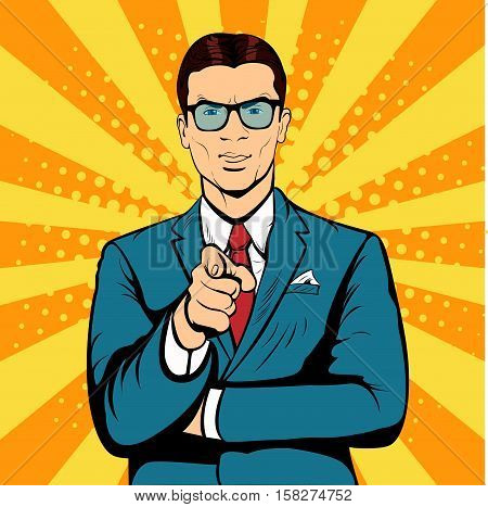 Businessman pointing finger pop art retro vector. Index finger. Promo people