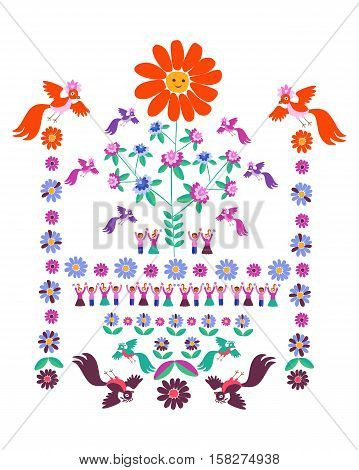 Festive template for embroidery. Flower - Sun blooming tree birds and cute cartoon people. Mexican motives. Beautiful vector background - 3.
