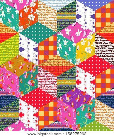 Beautiful multicolor patchwork blanket. Handmade carpet. Scrappy cover. Vector illustration.