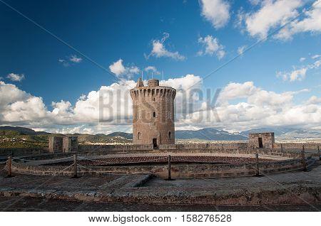 Medieval castle Bellver in Palma de Mallorca Spain.