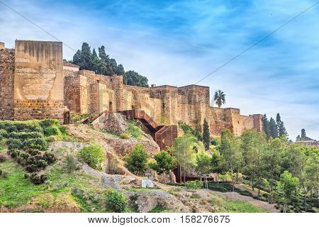 Walls of Alcazaba palatial fortress in Malaga built in 11th century Andalusia Spain