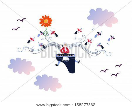 Mozart winged with music. Cute cartoon vector illustration. Flower - sun and treble clef - plant stem.