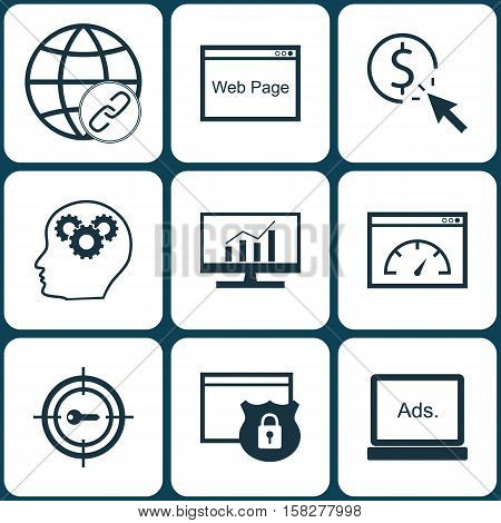 Set Of Seo Icons On Website, Security And Ppc Topics. Editable Vector Illustration. Includes Adverti