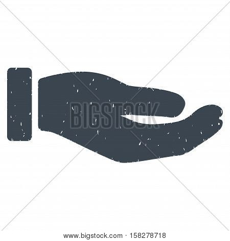Petition Hand grainy textured icon for overlay watermark stamps. Flat symbol with dirty texture. Dotted vector smooth blue ink rubber seal stamp with grunge design on a white background.