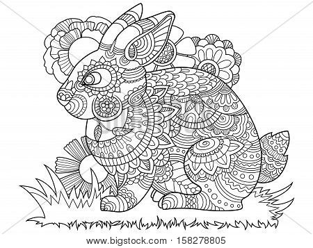 Rabbit bunny coloring book for adults vector illustration. Anti-stress coloring for adult. Tattoo stencil. Zentangle style. Black and white lines. Lace pattern