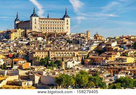 The Alcazar of Toledo, a stone fortification located in the highest part of Toledo, Spain