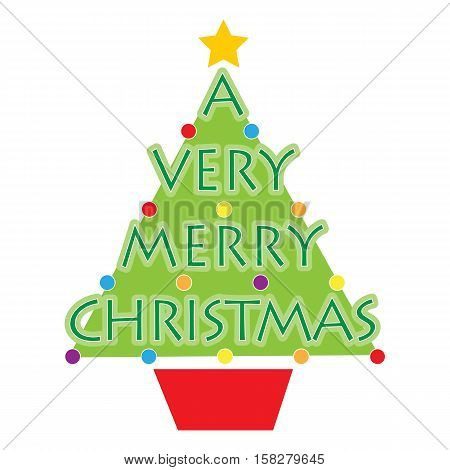A stylized Christmas tree with the words A Very Merry Christmas on it and some round Christmas ornaments