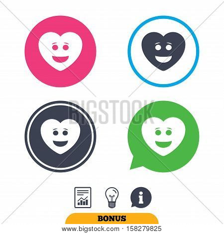 Smile heart face sign icon. Happy smiley with hairstyle chat symbol. Report document, information sign and light bulb icons. Vector