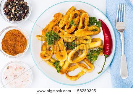 Fried squid rings in breadcrumbs. Studio Photo