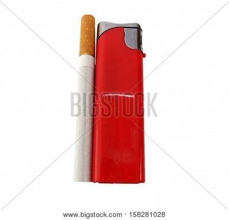 Cigarette isolated on a white background with lighter
