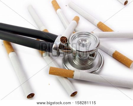 Cigarette isolated on a white background with stetoscope
