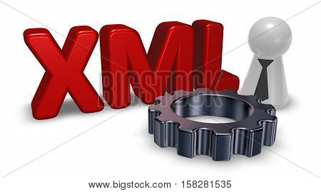 xml tag pawn with tie and gear wheel - 3d rendering