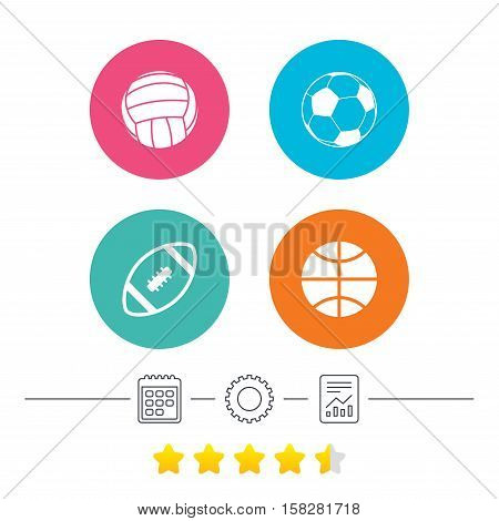 Sport balls icons. Volleyball, Basketball, Soccer and American football signs. Team sport games. Calendar, cogwheel and report linear icons. Star vote ranking. Vector