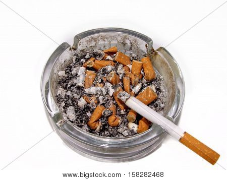 Cigarette nicotine isolated on a white background
