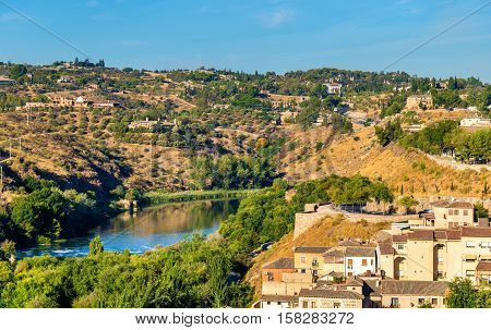 The Tagus River, the longest river on the Iberian Peninsula. Toledo, Spain