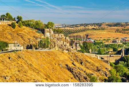 Fortifications over the Tagus River in Toledo, Spain