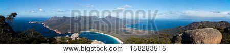 Panoramic view over the Freycinet Peninsula on the East coast of Tasmania, looking towards Wineglass Bay from the top of Mt Amos.