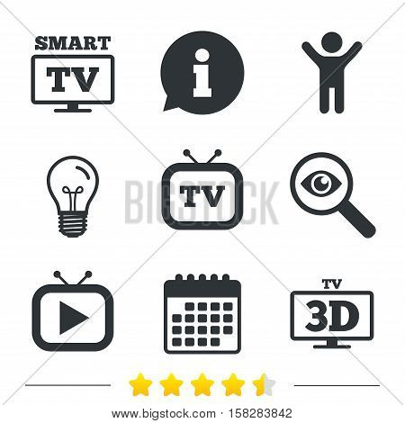 Smart 3D TV mode icon. Widescreen symbol. Retro television and TV table signs. Information, light bulb and calendar icons. Investigate magnifier. Vector