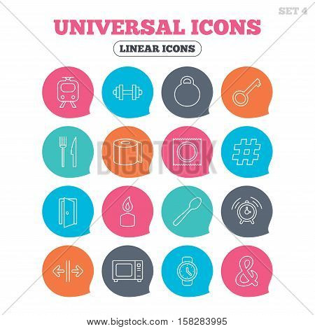 Universal icons. Fitness dumbbell, home key and candle. Toilet paper, knife and fork. Microwave oven. Flat speech bubbles with linear icons. Vector