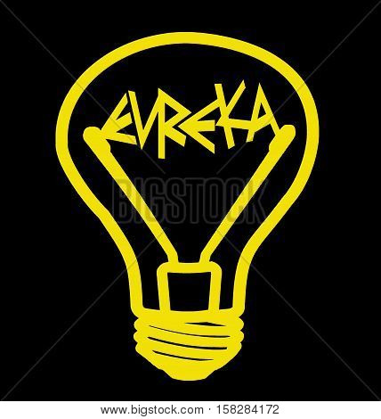 Yellow bulb included - Eureka! - on a black background, isolated illustration