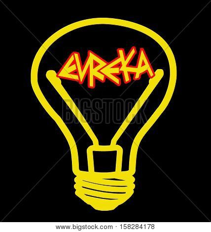 Included light bulb - red Eureka! - on a black background, isolated illustration