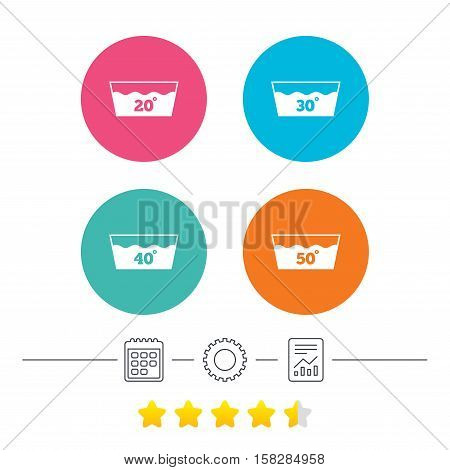 Wash icons. Machine washable at 20, 30, 40 and 50 degrees symbols. Laundry washhouse signs. Calendar, cogwheel and report linear icons. Star vote ranking. Vector