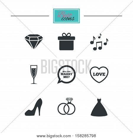 Wedding, engagement icons. Rings, gift box and brilliant signs. Dress, shoes and musical notes symbols. Black flat icons. Classic design. Vector