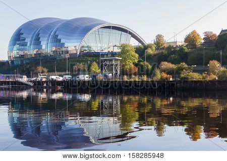 Newcastle England - October 25 2016: Sage Gateshead concert hall on Newcastle Gateshead Quayside. It is located on the south bank of River Tyne.