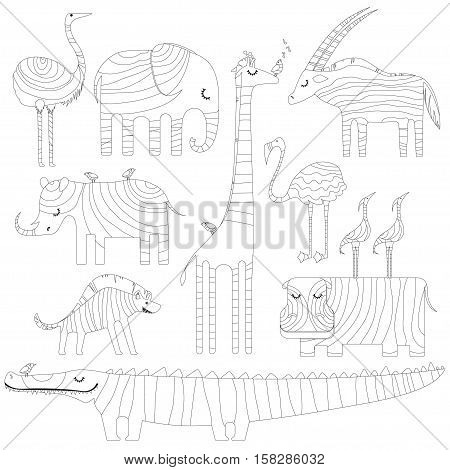 Some african animals in dreamtime. Picture for coloring or zentangling. Vector illustration.