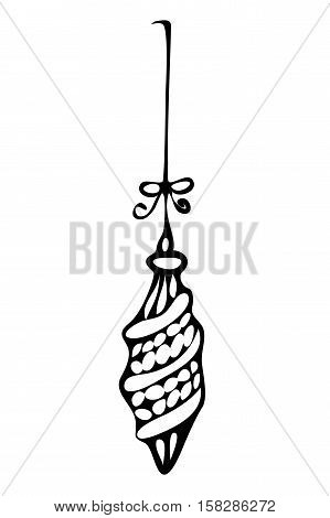 Christmas ornament zentangle style in black and white for coloring book