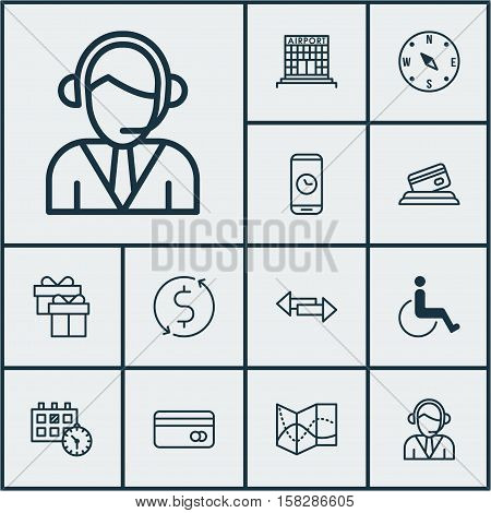 Set Of Airport Icons On Road Map, Airport Construction And Crossroad Topics. Editable Vector Illustr