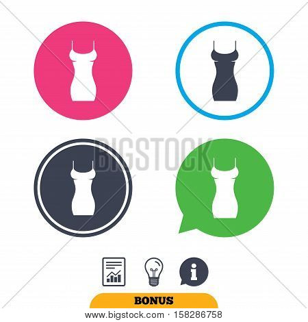 Women dress sign icon. Intimates and sleeps symbol. Report document, information sign and light bulb icons. Vector