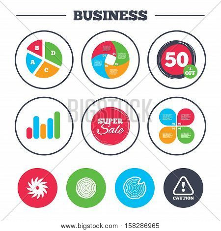 Business pie chart. Growth graph. Wood and saw circular wheel icons. Attention caution symbol. Sawmill or woodworking factory signs. Super sale and discount buttons. Vector