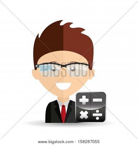 happy businessman calculator network media icon vector illustration eps 10