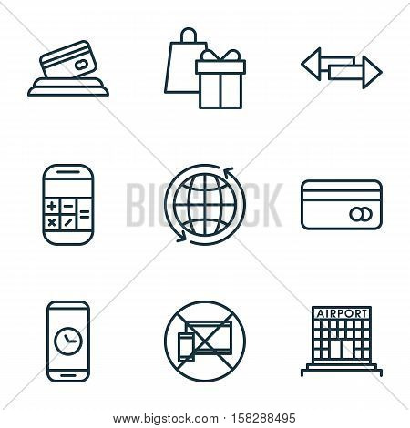 Set Of Airport Icons On Credit Card, World And Shopping Topics. Editable Vector Illustration. Includ