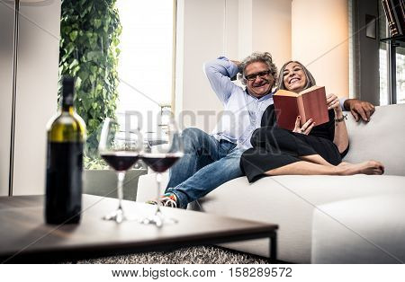 Senior couple spending time in the living room