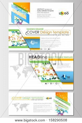 Social media and email headers set, modern banners. Business templates. Cover design template, easy editable, abstract flat layout in popular sizes. Abstract triangles, triangular background, modern colorful polygonal vector.