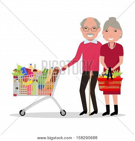 Vector illustration cartoon elderly people are shopping in a supermarket. Grandparents with shopping basket, trolley full food. Flat style. Grandfather and Grandmother buying groceries at the store.