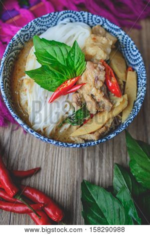 Thai Green Curry with Pork on Thai Fabric and Old Wooden Background Thai Food Thai Cuisine Thai Famouse Food
