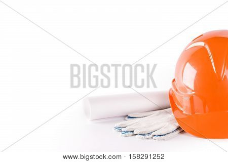 Construction tools close up on white background