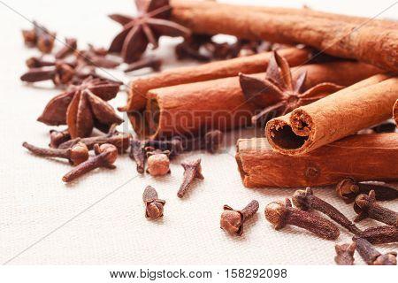 Spices Cinnamon Sticks Anise Stars And Cloves