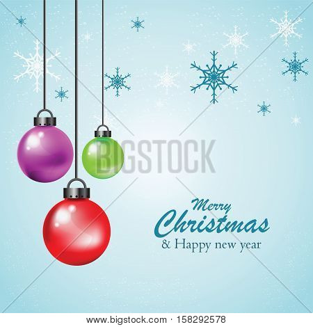 Hanging Colorful Christmas Ball Christmas background greeting card vecter background.