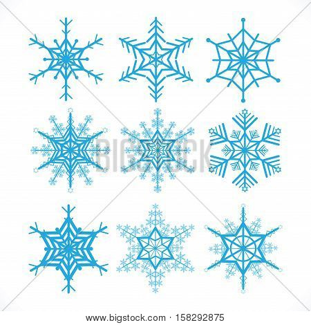Snowflakes vector design set on white background decorate vecter illustration.