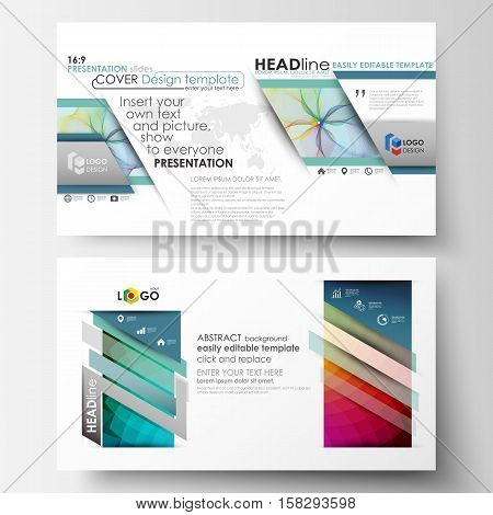 Business templates in HD format for presentation slides. Easy editable layouts in flat style, vector illustration. Colorful design background with abstract shapes and waves, overlap effect