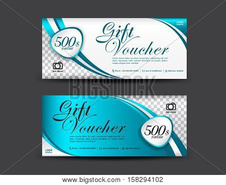 Blue Gift Voucher template, coupon design, Gift certificate, ticket template ,discount voucher layout