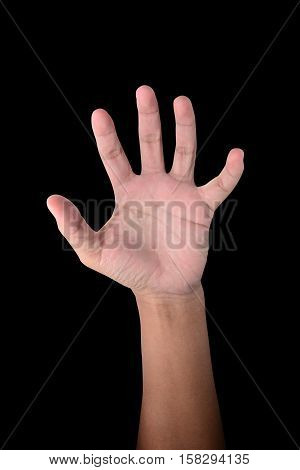 Male hand is showing five fingers isolated on black with clipping path
