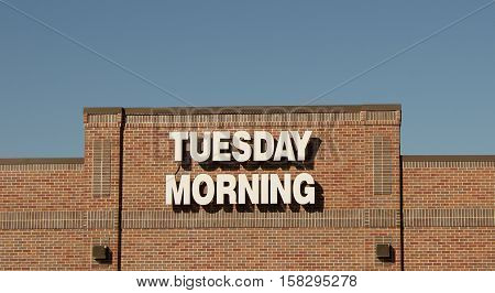 RIVER FALLS,WISCONSIN-NOVEMBER 24,2016: The Tuesday Morning sign and retail storefront.
