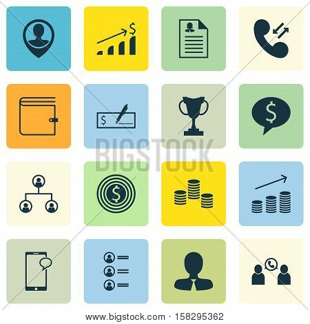 Set Of Management Icons On Business Goal, Coins Growth And Cellular Data Topics. Editable Vector Ill