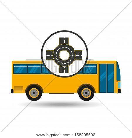 bus transport public roundabout road vector illustration eps 10